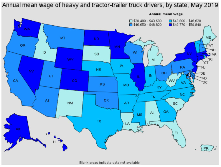 annual mean wage by state for truckers 2019